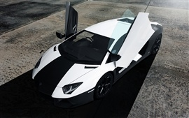 Preview wallpaper Lamborghini Aventador black white colors supercar