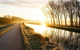 Preview wallpaper Nature landscape, road, sunrise, trees, grass, river