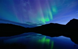Norway, night, Northern lights, blue, lake, water reflection