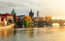 Prague, Charles Bridge, the river Vltava, water, boats, houses, autumn