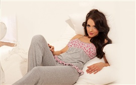Preview wallpaper Pyjama girl at bed