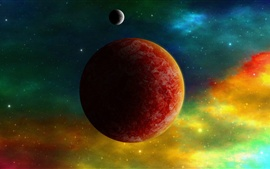 Preview wallpaper Red planets, space color