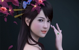Preview wallpaper Render asian girl, flowers, ring
