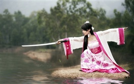 Preview wallpaper Samurai katana girl beautiful dress