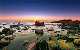 Preview wallpaper Sea, rocks, reefs, horizon, sky, clouds, dawn