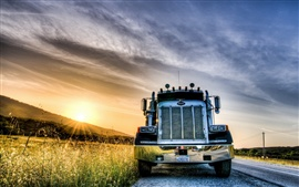 Preview wallpaper Sunset, road, truck