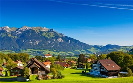 Switzerland, Alps, mountains, summer, nature, greenery, houses