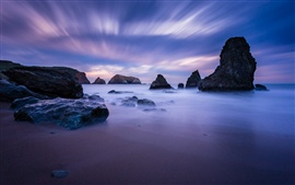 USA, California, ocean, coast, stones, blue, night