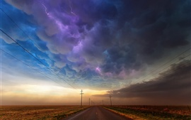Preview wallpaper USA, Texas, road, storm clouds, lightning