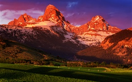 Preview wallpaper USA, Wyoming, Grand Teton National Park, summer sunset scenery