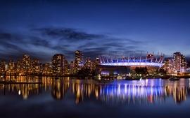 Vancouver, Canadá, ciudad, noche, luces, rascacielos, bahía