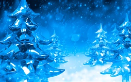 Preview wallpaper 3D winter blue pines