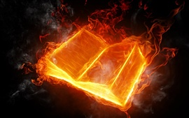 Abstract design, burning fire book