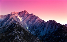 Preview wallpaper Alabama Hills, California, USA, mountain, snow, sunset, purple