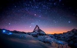 Preview wallpaper Alps, Matterhorn, Zermatt, Switzerland, evening, stars