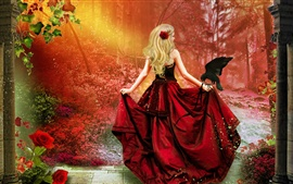Preview wallpaper Art fantasy, red dress girl, blonde hair, crow, red forest