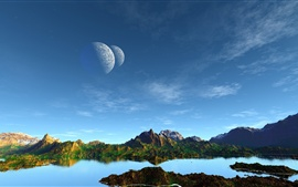 Preview wallpaper Art landscape, mountains, lake, planets, blue sky