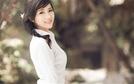 Preview wallpaper Asian girl, brunettes ponytails, white clothes