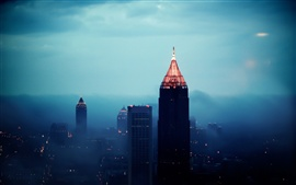Atlanta city night, buildings, skyscrapers, cityscapes, fog