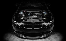 Aperçu fond d'écran BMW M3 voiture noire, le réglage du moteur