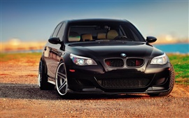 BMW M5 E60 black car front view
