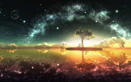 Preview wallpaper Beautiful artwork design, moon, island, chair, tree, stars, water reflection