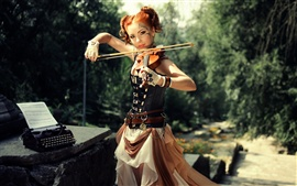 Preview wallpaper Brown hair girl, violin, sunlight