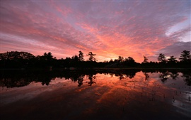 Preview wallpaper Canada, Ontario, lake, trees, evening sunset, water reflection
