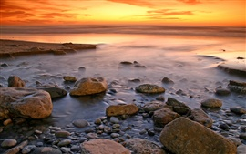 Coast landscape, beach, rocks, water, ocean, sea, sunset