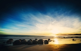 Preview wallpaper Coast nature landscape, sea, beach, rocks, sunset, sky, clouds