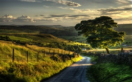 Preview wallpaper Countryside nature scenery, fence, hills, road, trees
