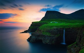 Preview wallpaper Denmark, the Faroe Islands, village, mountains, waterfalls, sunset