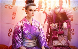 Fantasy beautiful kimono girl, purple, katana, armor
