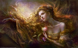 Fantasia longo da menina do cabelo, peixe, flores, jóias