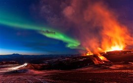 Preview wallpaper Fimmvorduhals, Iceland, mountains, volcanic eruption, northern lights