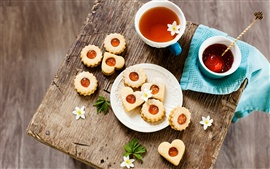 Preview wallpaper Food, cookies, tea, flowers, drink, cup, colorful