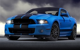 Preview wallpaper Ford Mustang Shelby GT500 blue supercar