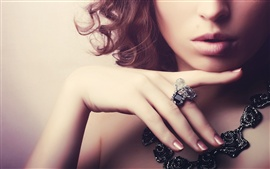 Girl, gemstone rings, necklaces, jewelry