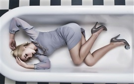 Preview wallpaper Girl sleep in the bathtub