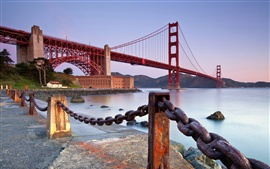 Preview wallpaper Golden Gate Bridge, San Francisco, California, United States, fence, iron chain