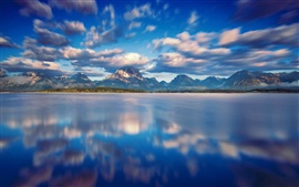 Preview wallpaper Grand Teton National Park, Jackson Lake, clouds, mountains, water, blue sky