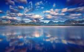 Национальный парк Гранд Тетон, Джексон озеро, облака, горы, вода, голубое небо