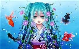 Hatsune Miku, blue hair girl, fish, water, flowers