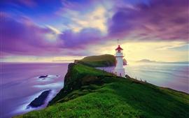 Islândia, Ilhas Faroe, farol, verão, céu roxo, costa