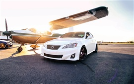 Preview wallpaper Lexus IS white car, sun, plane