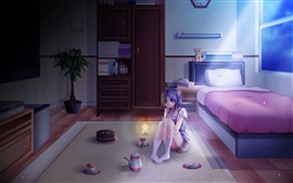 Lonely night, anime girl at bedroom, moonlight