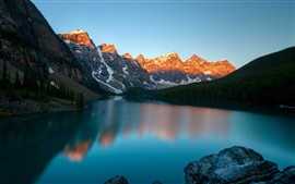 Moraine Lake, Banff National Park, Canada, mountains, dusk