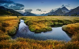 Preview wallpaper New Zealand nature landscape, river, mountains, meadows