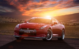 Preview wallpaper Nissan GT-R R35 red supercar at sunset