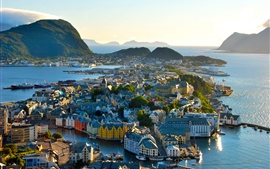 Preview wallpaper Norway, city, architecture, houses, mountains, trees, sea